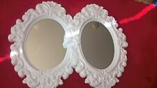 New 2 x Oval Vintage Antique Style White Tone Hanging Wall Mirror PlasticAC-2022