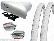 "Sella MG + Pedali + N°2 Copertone 28"" - 700 x 28 Bici Sport - Epoca  BIANCO"