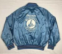 Vtg Bluegrass Music Festival Mens Light Blue Satin Windbreaker Jacket Sz Large