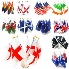 More details for handheld country flag mini desktop 20x14 waving party small stick england gb usa