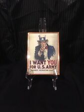 "Glass/ I Want You - Uncle Sam Poster Print, 5""X7"""