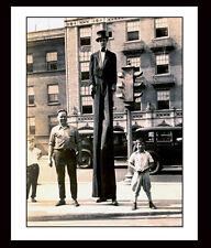 Rare Photo (( MAN on STILTS )) Circus, Tuxedo, Vintage Traffic Light ~ New York