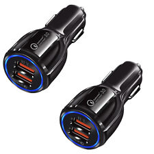 2x Qualcomm QC3.0 Certified Quick Charge Dual 2 USB Port Fast Car Charger 36W US