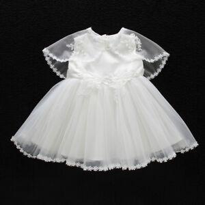 Gown Lace Baptism Dress Embroidery Elegant Baby Christening Tutu Cape Bonnet