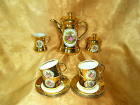Coffee tea set, porcelain, 24k gold, Fragonard, vintage, rare