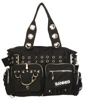 Banned Apparel Durable Handcuff Shoulder Bag Canvas Handbag Rockabilly Gothic