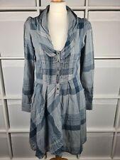 Joe Browns Blue Check Shirt Dress Size 10 Asymmetric Boho Hippy Tunic NWOT
