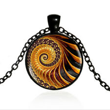Golden Fractal Black Dome glass Photo Art Chain Pendant Necklace