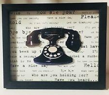 "Vintage Telephone Picture Art Work Black Shadow Box Frame w/ Glass 9""x11""x1.25 4;"