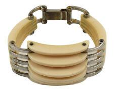 Vintage French Art Deco White Bakelite / Galalith & Chrome Carved Grill Bracelet