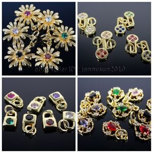 Colorful Zircon Gemstones Pave Various Pendant Connector Charm Beads Gold Plated