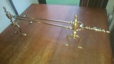 Pair of Brass Andirons Poker Rest Fire Dogs and a Pair of Long Tongs