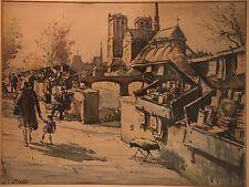 Vintage Andre Krafft Signed Artwork Paris France Watercolor Notre Dame    1950s