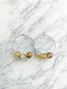 Chalcedony Silver Plated Hoops
