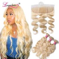 3Bundles Blonde Body Wave Brazilian Virgin Human Hair with 613# 13x4Lace Frontal