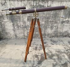 "39"" Antique Nautical Brass Leather Telescope with Wooden Tripod Stand Decor"