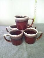 "5 Hull Oven Proof Brown Drip Coffee Mug Cup Ceramic CUP Vintage USA 3.25"" tall"