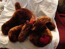 "Dan Dee Chocolate Brown Dog Red  Heart Nose Stuffed Plush  Bow 20""x7"" SOFT MINT"