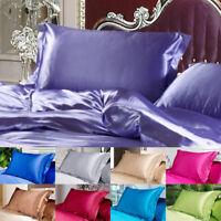 Silk Satin Sheets Solid Queen Standard Pillow Case Bedding Pillowcase Smooth