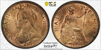 PCGS MS-63 RED-BN GREAT BRITAIN HALFPENNY 1/2 PENNY 1897 (HIGH SEA LEVEL) HSL
