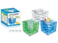 Money Maze Coin Honeycomb Puzzle Box Bank BrainStorm Gift Full Transparent Blue