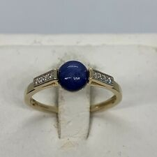 14k yellow gold diamond round linde blue star sappire ring estate 1.95g 7.75