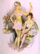 Style art déco deux jeunes modèles w / col c1930