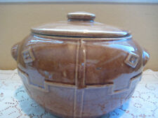 """Vintage USA Brown Pottery Bean Pot/Jar with Lid, 6"""" H x 9"""" Widest"""