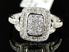Ladies Womens White Gold Finish white Diamond Engagement Cluster Ring .15Ct