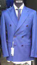 Blue super 150 Cerruti double breasted gingham wool suit wide peak lapel