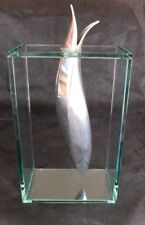 "Badash Glass Box & Polished Aluminum Vase Sculpture ""Elvis"" Modern sculpture"