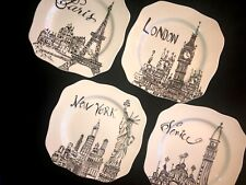 Roxann Set Of 4 Landmark Plates W/Wall Stand Paris London New York