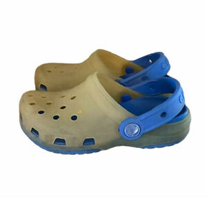 Crocs Toddlers Yellow Blue Slip On Classic Water Shoe Clog Size 10-11C