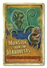 Vintage Styled Metal Sign Tiki Monster Pulp B Movie Poster Art Tiki Bar Decor