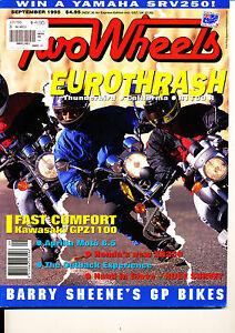 Two Wheels Magazine Sept 1995 XR250R GPZ1100 Honda V25 BMW R1100R Thunderbird