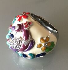 Belle Etoile Peacock Bird Enamel Dome Ring Sz 8 $330. 925 Silver Floral Amazing