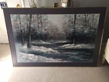 Woodland Winter Scape Acrylic Painting signed by E. Lee