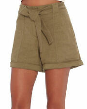A.L.C. Gregory Women's Solid Green Linen Shorts Pants Belted 8 Front Pockets