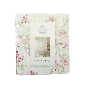 NEW Simply Shabby Chic Shower Curtain Cherry Blossom Pink Floral Ruffle Cottage