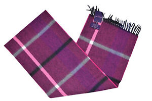 Seaward & Stearn NWT Wool Scarf In Intense Pink Black Gray White & Blue Plaid