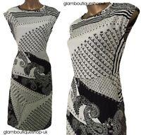LADIES WHITE STUFF BLACK WHITE ABSTRACT SUMMER FLORAL TEA DRESS TUNIC SIZE 8/14