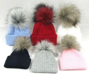 Baby Boys Girls Fluffy Fur Pom Pom Faux Raccoon Knitted Winter Bobble Hat NB