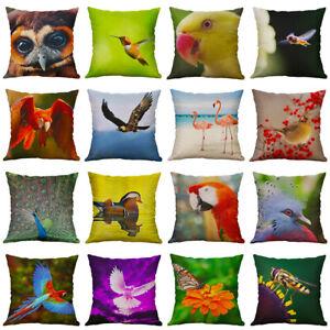18'' Animal Bird Pattern Cotton Linen Pillow Case Home Decor Cushion Cover