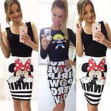 Women's Cartoon Printed Skirts Kawaii Tunic Mini Bodycon Slim Clubwear Clothing