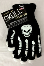 Halloween Gloves Skeleton Bones Skull Light Up Stretch Knit Lined Black White