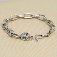 Real 925 Sterling Silver Bracelet Link Skull Bone Clasp Long Loop