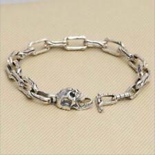 Real 925 Sterling Silver Bracelet Link Skull Bone Clasp Long Loop