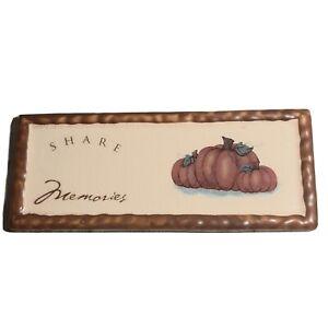 Russ Berne Plaque Share Memories Pumpkin Harvest Fall Autumn 7.5 x 3 in