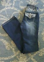 Soundgirl  Sz 1 Juniors Womans Bootcut Jeans Dark Wash Bling Embroidery Pockets