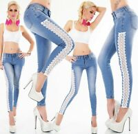 Damen Jeans Hose Röhrenjeans Skinny weiße Häkel Spitze Stickerei XS S M L XL
